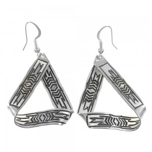 American Indian Sterling Silver Hook Dangle Earrings AX90232