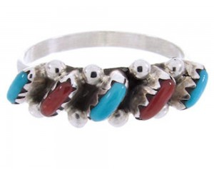 Turquoise Coral Zuni Sterling Silver Needlepoint Jewelry Ring Size 6-1/4 AX71694