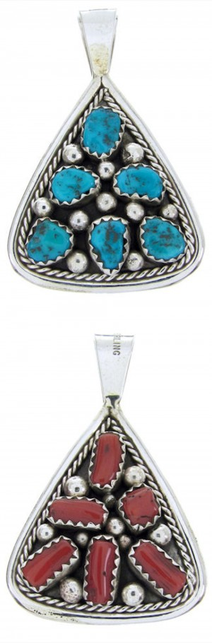Silver Coral Turquoise Native American Reversible Pendant BW70136
