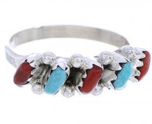 Needlepoint Coral Turquoise American Zuni Ring Size 8-1/4 PX24653