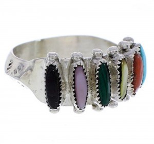 Multicolor Silver Native American Jewelry Ring Size 6-3/4 BW75915