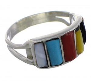 Multicolor Inlay Sterling Silver Zuni Jewelry Ring Size 5-1/2 PX26285