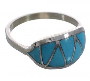 Zuni Indian Turquoise Inlay Sterling Silver Ring Size 6-1/2 PX25104
