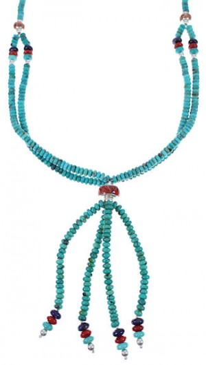 Native American Indian Turquoise Multicolor Bead Necklace RS40163