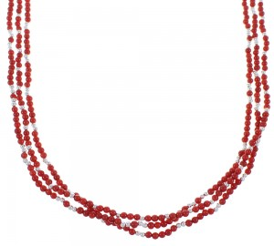 Sterling Silver Coral 3-Strand Native American Bead Necklace PX44038