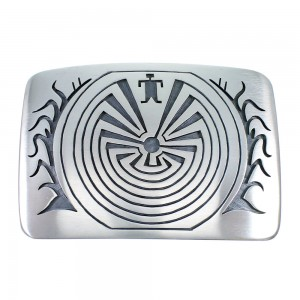 George Phillips Hopi Man In The Maze Corn Stalk Belt Buckle EX48127