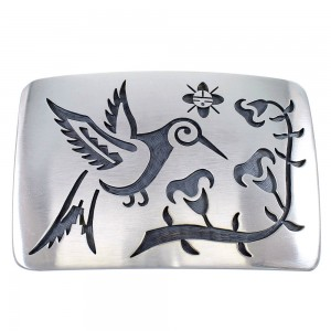 Hopi George Phillips Hummingbird And Sun Silver Belt Buckle EX48133