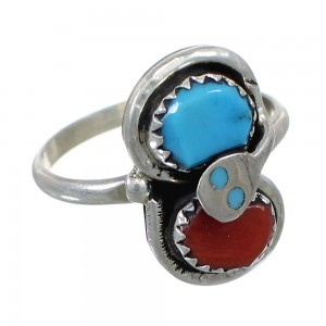 Zuni Effie Calavaza Turquoise Coral Sterling Silver Snake Ring Size 8-1/2 EX58098