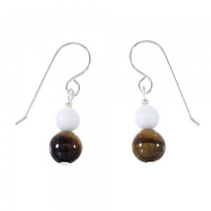 White Agate And Tiger Eye American Indian Silver Bead Hook Dangle Earrings AX95957