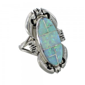 Navajo Ray Jack Sterling Silver And Opal Inlay Ring Size 6-3/4 AX97573