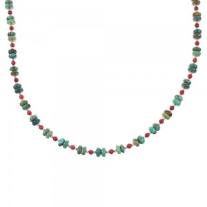 Turquoise And Coral Silver Native American Bead Necklace AX98278