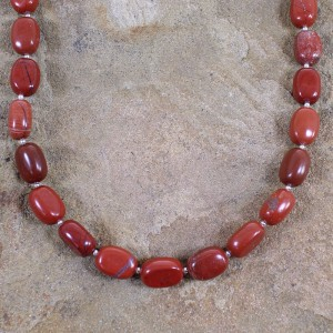 Sterling Silver Jasper Navajo Bead Necklace AX100074