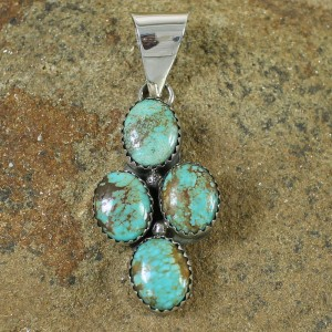 #8 Turquoise Native American Genuine Sterling Silver Pendant AX100206