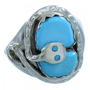Genuine Sterling Silver Turquoise Effie Calavaza Zuni Snake Ring Size 9-1/2 AX101455