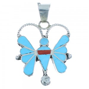 Turquoise And Coral Inlay Zuni Butterfly Sterling Silver Pendant RX102405