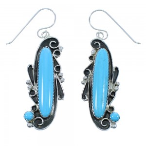 Turquoise Navajo Genuine Sterling Silver Hook Dangle Earrings AX102599