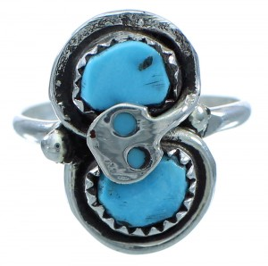 Zuni Effie Calavaza Turquoise Sterling Silver Snake Ring Size 8 SX110115