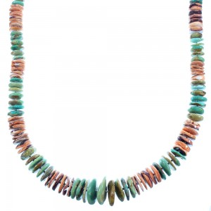 American Indian Genuine Sterling Silver Kingman Turquoise Oyster Shell Bead Necklace RX103159