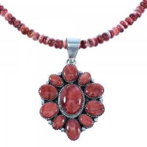 Native American Red Oyster Shell Sterling Silver Navajo Bead Necklace Set TX103856