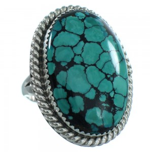 Turquoise And Sterling Silver Navajo Ring Size 8-1/2 TX103996