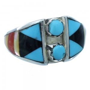 Multicolor Authentic Sterling Silver Zuni Ring Size 5-1/4 TX104119