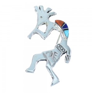 Genuine Sterling Silver Kokopelli Multicolor Inlay Navajo Pin Pendant SX104467