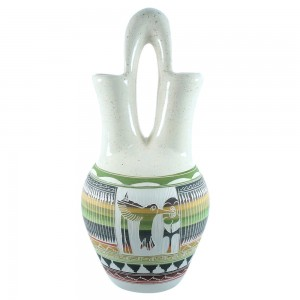 Navajo Hand Crafted Hummingbird And Flower Wedding Vase- By Artist Tamaria Arviso TX104768