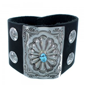 Turquoise Genuine Sterling Silver Navajo Bow Guard Leather Cuff Bracelet SX105108