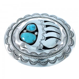 Navajo Turquoise Bear Paw Authentic Sterling Silver Belt Buckle SX105262