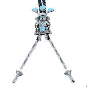 Genuine Sterling Silver Kachina Figure Turquoise Navajo Bolo Tie RX105210
