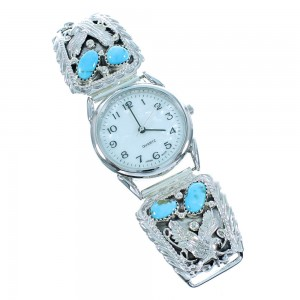 Turquoise Genuine Sterling Silver Navajo Eagle Watch SX105434