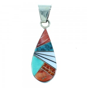 Multicolor Inlay Authentic Sterling Silver Navajo Pendant RX105495