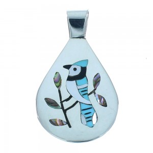 Blue Jay Genuine Sterling Silver Zuni Multicolor Inlay Pendant RX105516