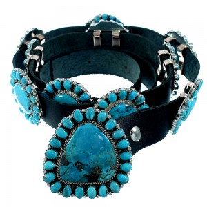 American Indian Turquoise Authentic Sterling Silver Concho Belt RX105473