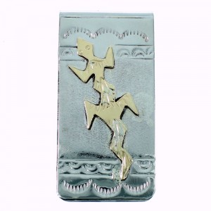 Lizard American Indian Sterling Silver And 12KGF Money Clip SX105633