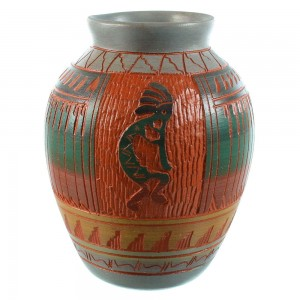 Hand Crafted Kokopelli Pot By Navajo Artist Bernice Watchman Lee SX105749