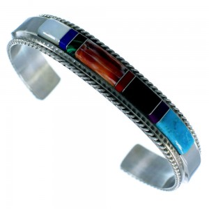 Navajo Genuine Sterling Silver Multicolor Inlay Cuff Bracelet RX106061