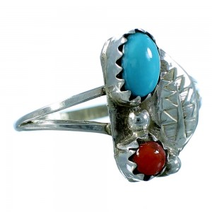 Turquoise And Coral Navajo Genuine Sterling Silver Leaf Ring Size 5-3/4 SX106330
