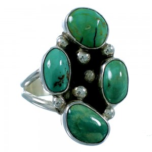 Navajo Turquoise And Genuine Sterling Silver Ring Size 8-1/2 SX106408