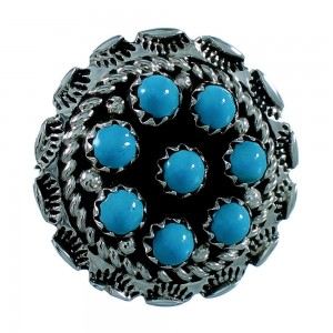 Navajo Indian Turquoise And Genuine Sterling Silver Ring Size 7-1/4 SX106443