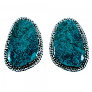 Turquoise Navajo Genuine Sterling Silver Post Earrings RX106447