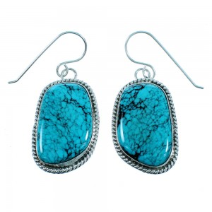 Turquoise Native American Authentic Sterling Silver Hook Dangle Earrings RX106451