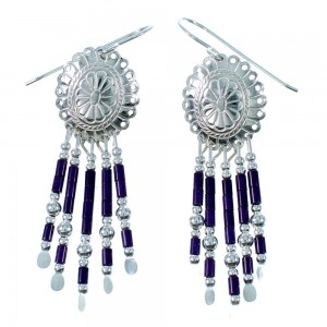 Sugilite And Sterling Silver Concho Hook Dangle Earrings RX106481