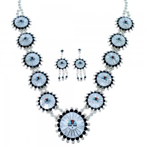 Sterling Silver Zuni Sun Multicolor Squash Blossom Necklace Set SX107188