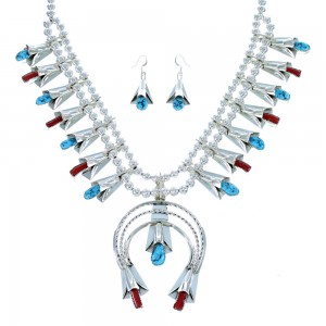 Turquoise And Coral Sterling Silver Navajo Squash Blossom Necklace Set SX107189
