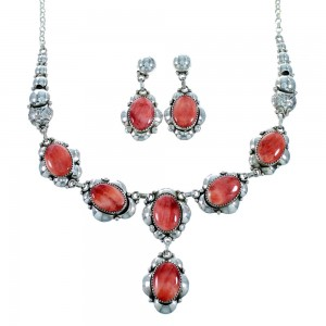 Red Oyster Shell Genuine Sterling Silver Navajo Link Necklace Set SX107463