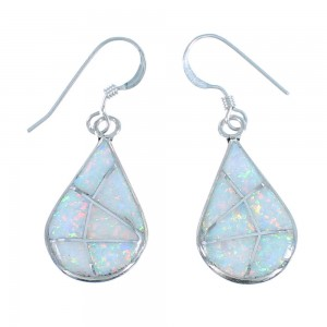Sterling Silver Tear Drop Opal Zuni Hook Dangle Earrings SX107585