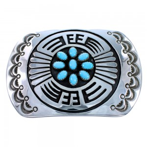 American Indian Genuine Sterling Silver Turquoise Belt Buckle SX107691