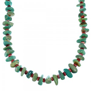 Turquoise And Red Oyster Shell Sterling Silver Navajo Bead Necklace SX108108