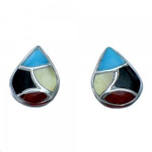 Multicolor Tear Drop Zuni Sterling Silver Post Stud Earrings SX108317